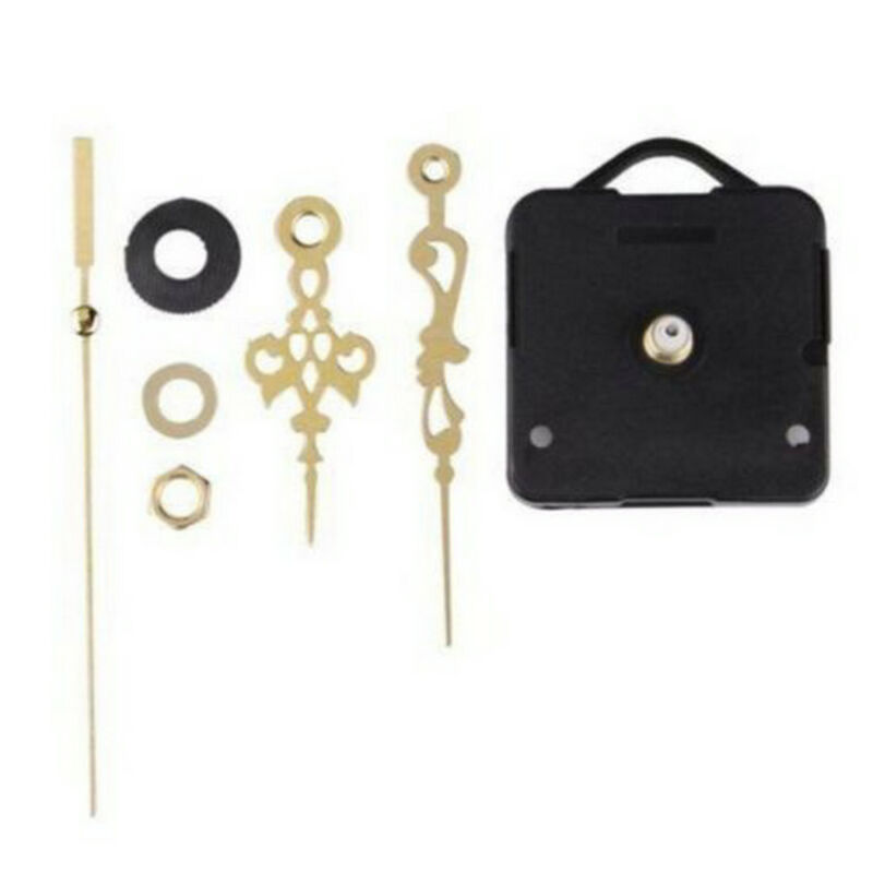 1Set Quartz Clock Movement Mechanism Repair Parts With Gold Hour Minute Hand DIY