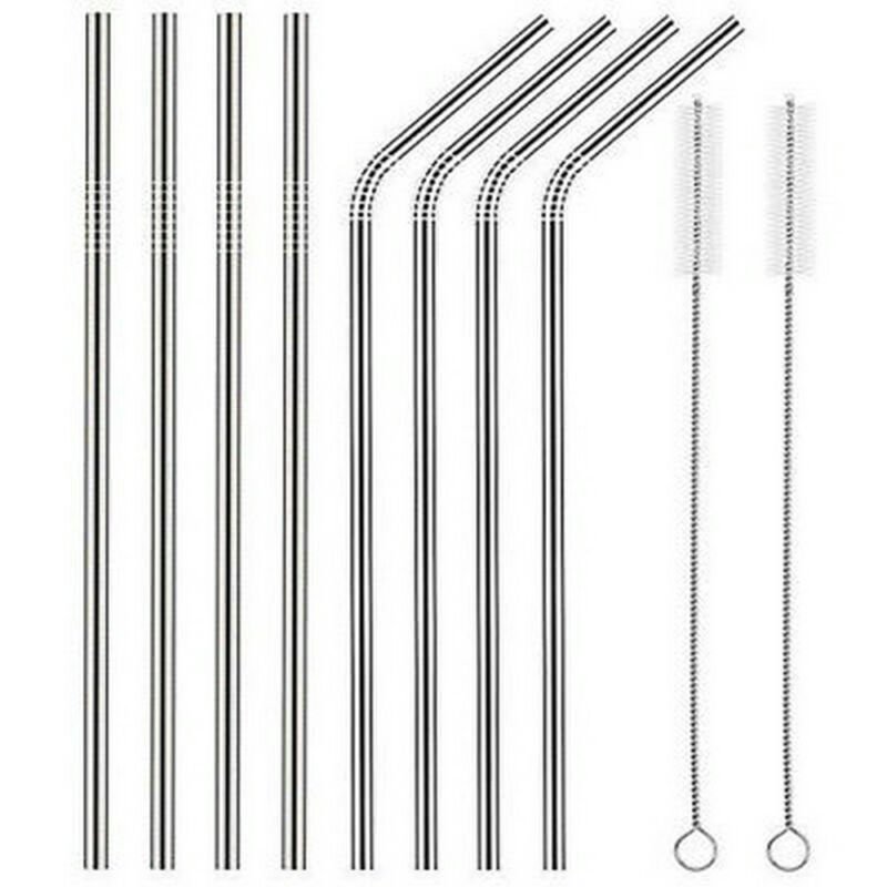 10pc Reusable Drinking Straw Stainless Steel Metal Straws Wide Straw Smoothies 4