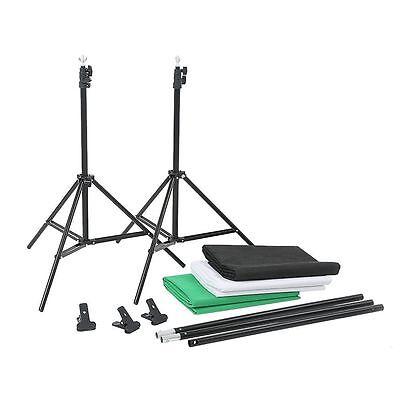 Photography Background Stand Kit + Photo Studio Black White Green Backdrop Set 9