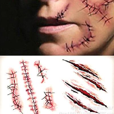 2x Halloween Waterproof Simulation Horror Scar Tattoo Sticker Dressup Decoration 7