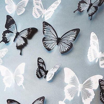 12 pcs 3D papillon Stickers muraux papillons décoration maison, chambre enfant 2
