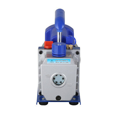 Single Stage Vacuum Pump Rotary Vane 2.5CFM 1/4HP Deep HVAC AC Air Tool Blue New 9