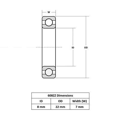10-30X NEW 608ZZ Ball Bearing PREMIUM ABEC-5 CNC Skateboard 3D Printer RepRap OZ 5