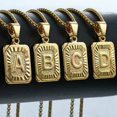 Womens Mens Gold Filled A-Z Initial Necklace Letter Pendant Box Chain Unisex 2