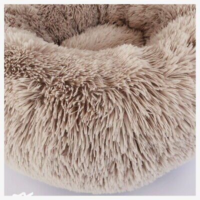 Large Pet Bed Luxury Shag Warm Fluffy Dog Bed Nest Cat Mattress Fur Donut Pad UK 4