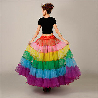 Women's Rainbow Long Petticoat Underskirt Colorful Skirts Slips Net Tutu Dress 5