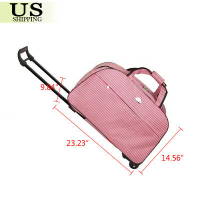 """24"""" Rolling Wheeled Duffle Trolley Bag Tote Carry On Travel Suitcase Luggage 4"""