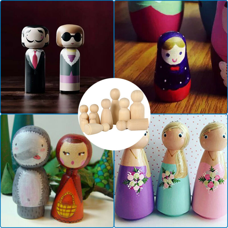 50PCS DIY Wooden Peg Doll Unfinished Family People Wedding Craft Man/Lady/Kids 9