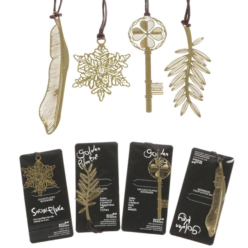 2 Pcs/lot Gold-plated Key / Feather / Palm Tree / Snowflake Metal Bookmark Gift