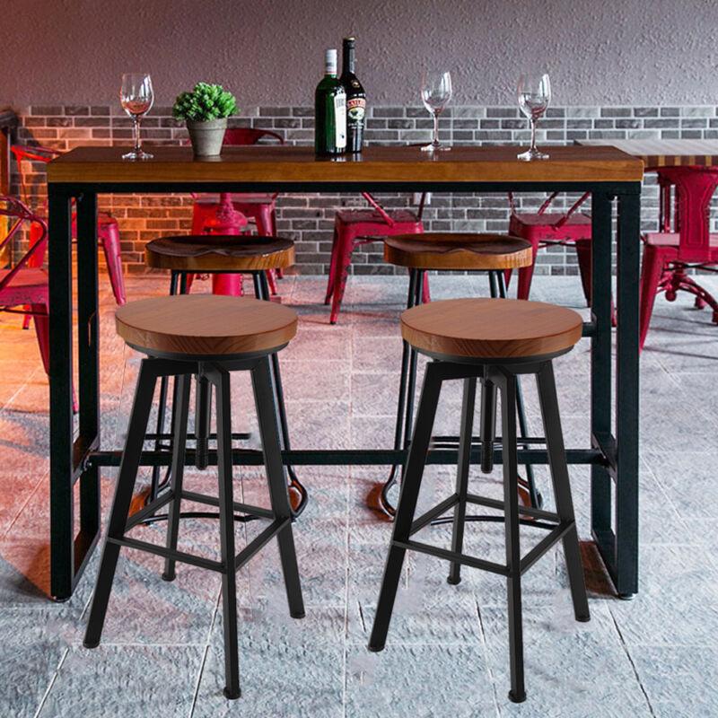 Vintage Bar Stool Metal Wooden Industrial Retro Seat Kitchen Pub Counter 4