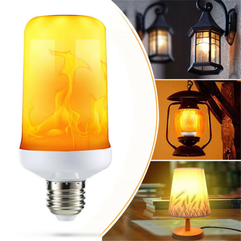 4Modes LED Flame Effect Simulated Fire Light Bulb E27 Flickering Lamp Xmas Decor