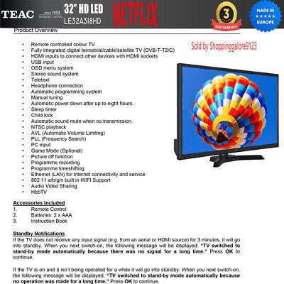 "TEAC 32"" Inch HD SMART TV Netflix Youtube WIFI PVR APP Made Europe 3 Yr Warranty 3"