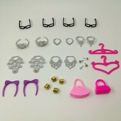 Doll Accessories Clothes Shoes Necklace Glasses For Barbie Doll Gift 40 Item//Set