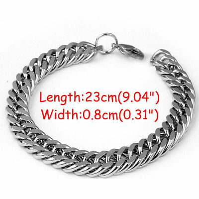 Silver Men's Stainless Steel Chain Link Bracelet Wristband Bangle Jewelry Punk 2