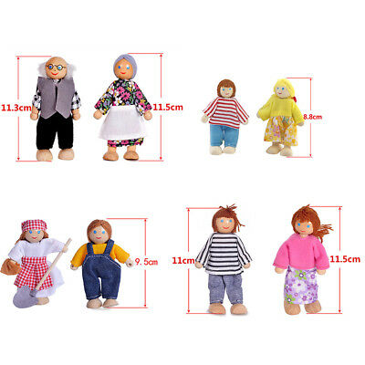 Wooden Furniture Dolls House Family Miniature 7 People Doll Toy For Kid Child AU 4