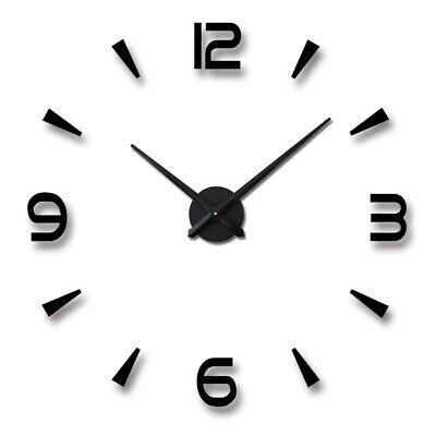 3D Large Wall Clock Frameless Mirror Number Sticker Modern Art Decal Decor UK 3