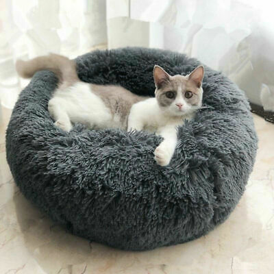 Comfy Calming Dog/Cat Bed Round Super Soft Plush Pet Bed Marshmallow Cat Bed UK 9