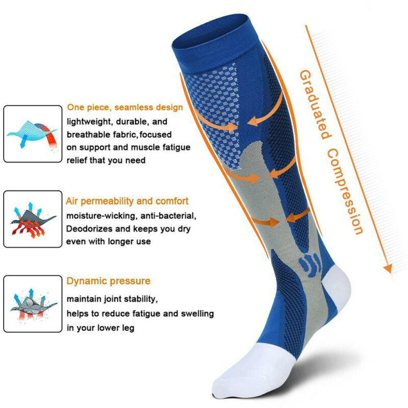 Medical Compression Socks Anti Fatigue Unisex Travel DVT Comfort Thigh Stockings 5