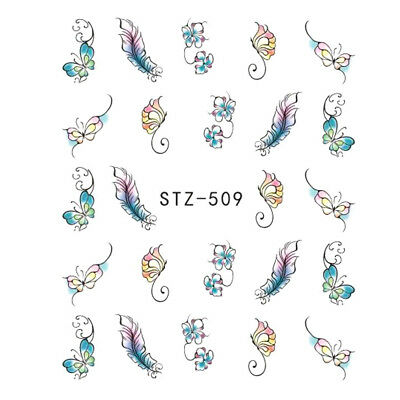 ❤️nouveau 20 Stickers Plumes Fleurs Papillons Bijoux Ongles Water Decals Nail 2