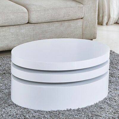 Remarkable Modern Coffee Table White Round Rotating Contemporary Living Ncnpc Chair Design For Home Ncnpcorg