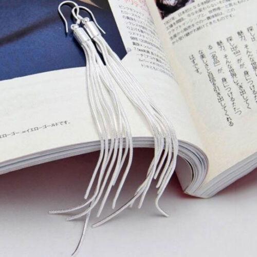 d70afc7b6 Women's Fashion Jewelry Silver Plated Long Hook Tassels Drop Dangle Earrings  HOT 3 3 of 6 ...