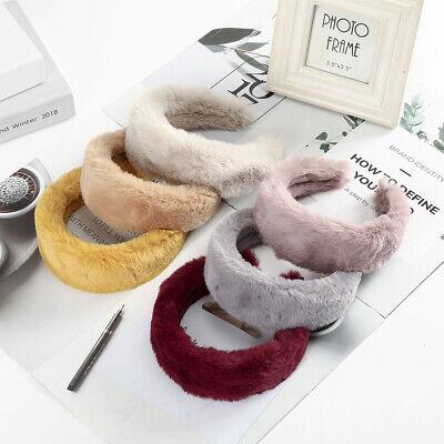 Women's Plush Wide Headband Hairband Soft Faux Fur Hair Band Hoop Accessories 2