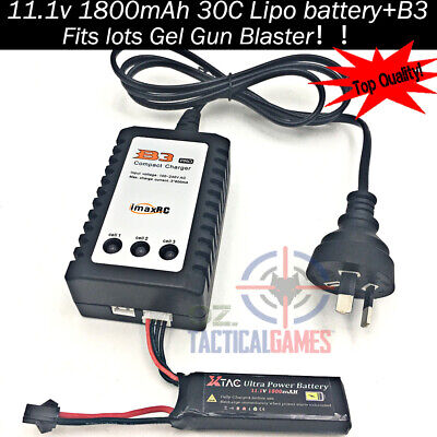 11.1v / 7.4v battery B3 Balance charger Gel Ball Blaster Jinming M4A1 Upgrade OZ 11