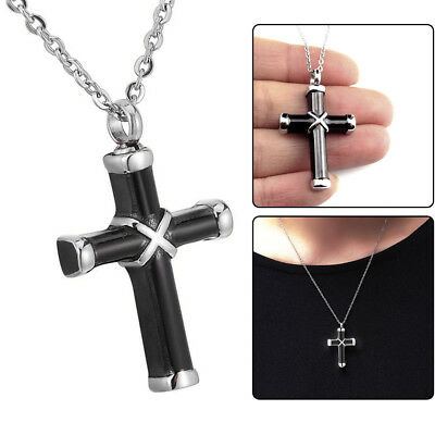 Black & Silver Cremation Urn Ashes Holder Stainless Memorial Men Cross Necklace 5