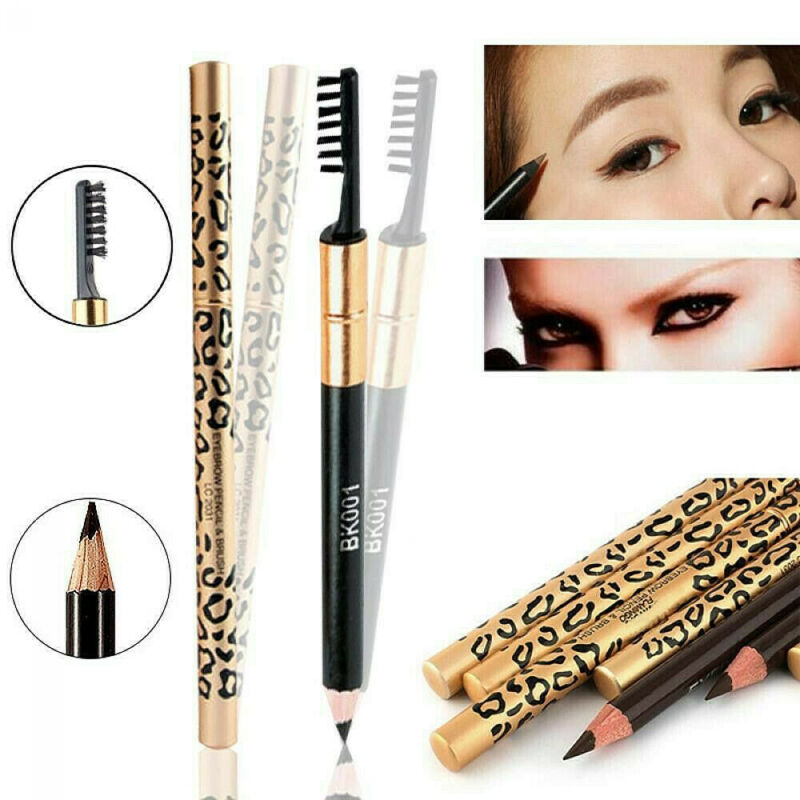 2in1 Waterproof Eyebrow Pencil With Brush Leopard Print Long Lasting Makeup 5