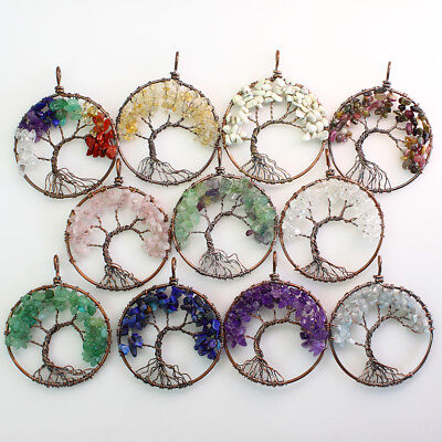 Natural Gemstones Amethyst Fluorite Chip Beads Tree of Life Copper Round Pendant 2