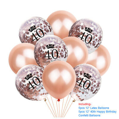 Rose Gold Happy Birthday Bunting Banner Balloons 18/21st/30/40/50/60 Party Decor 6