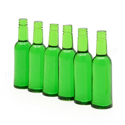 1:12 Miniature 6pcs Green Beer Wine Bottles Set Drink Beverage Model Dollhouse 4