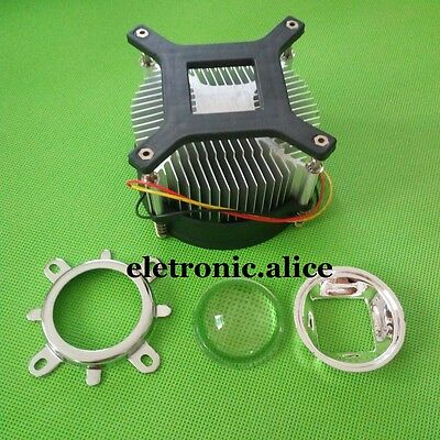 50w 100w high power led heatsink DC 12V 1.2A led cooling fan +44mm lens kit 2