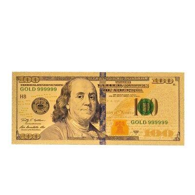 Wholesale 100PCS banknotes $100 USD Gold foil polymer paper money original Size