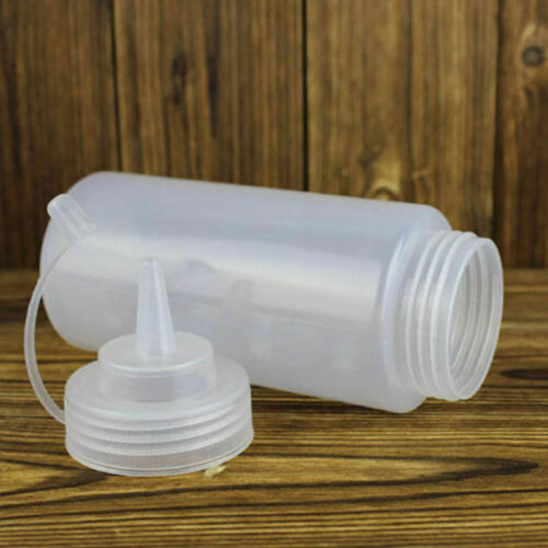 2Pcs 12oz 360ml Plastic Clear Squeezy Restaurant Oil Sauce Bottle Dispenser #HA2 2