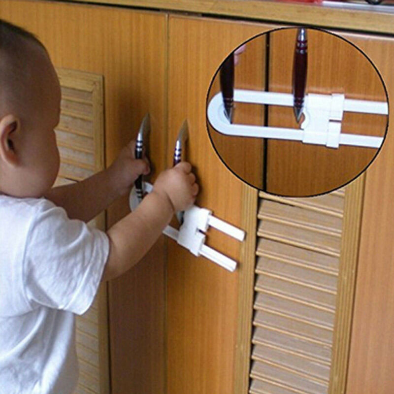 Toddler U Shape Safety Cabinet Door Drawer Lock For Child Baby Kid 11