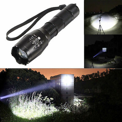 90000LM Tactical T6 Zoomable LED Flashlight Torch Light +18650 Battery + Charger 10