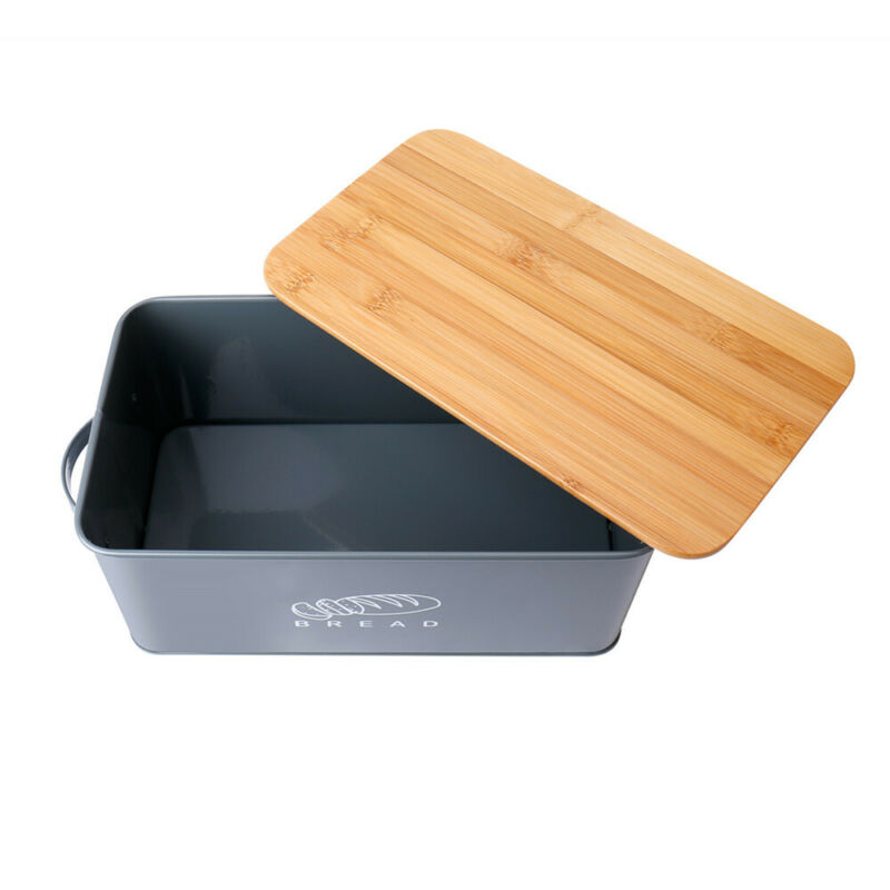 Bread Box Retro Metal Bin Kitchen Container Cake Keeper Food Storage Bamboo Lids 4