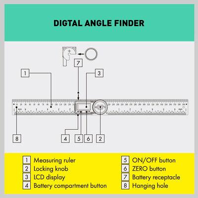 200mm Digital Angle Finder Ruler Protractor Measure Meter Stainless Steel 0-360° 7