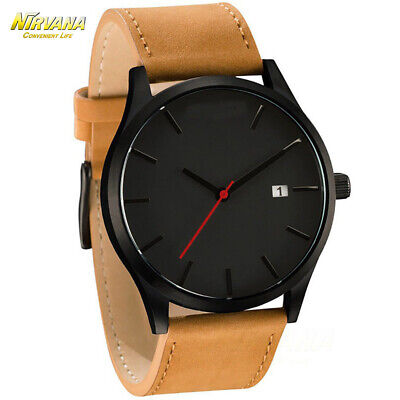 Men's Fashion Sport Stainless Steel Case Leather Band Quartz Analog Casual Watch 11