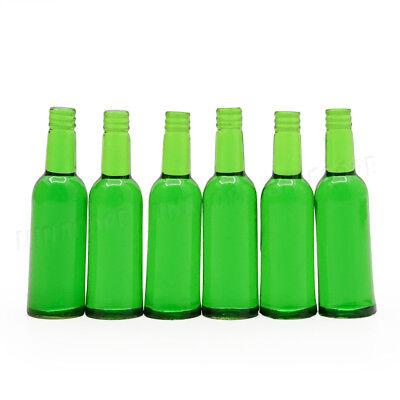 1:12 Miniature 6pcs Green Beer Wine Bottles Set Drink Beverage Model Dollhouse 3