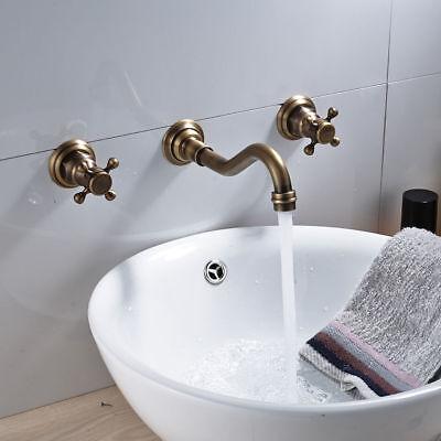 3Pcs Antique Brass Bathroom Basin Faucet Vanity Sink Faucet Mixer Tap Wall-mount 2