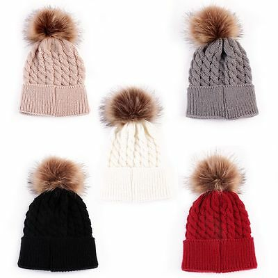 Newborn Girls Boys Kids Beanie Baby Knitted Hat Pom Pom Ball Wool Fur 3