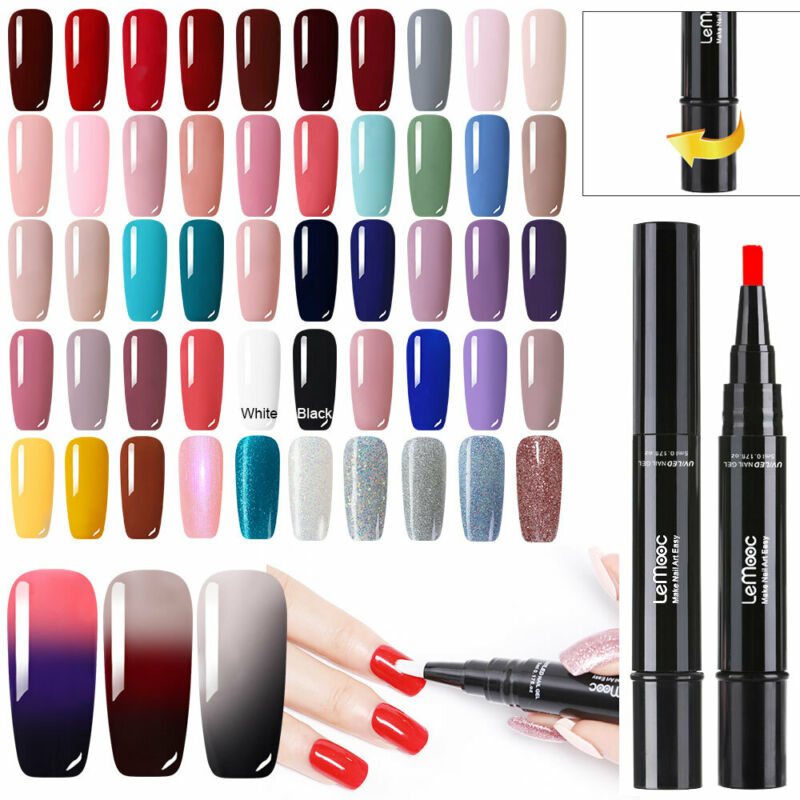 LEMOOC 5ml Soak off Nail UV Gel Polish Pen Nail Art No Wipe Top Base Coat UV LED 12