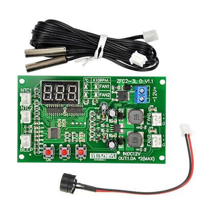 12V Dual Ways / PWM PC CPU Fan Digital Temperature Control Speed Controller UK 5