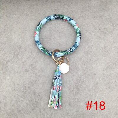 PU Leather O Key Chain Circle Cute Tassel Wristlet Keychain Key Ring Bangle 10