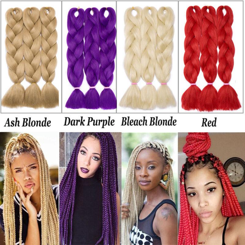 Colored Crochet Hair Extensions Kanekalon Hair Synthetic Braids Jumbo Braiding 4