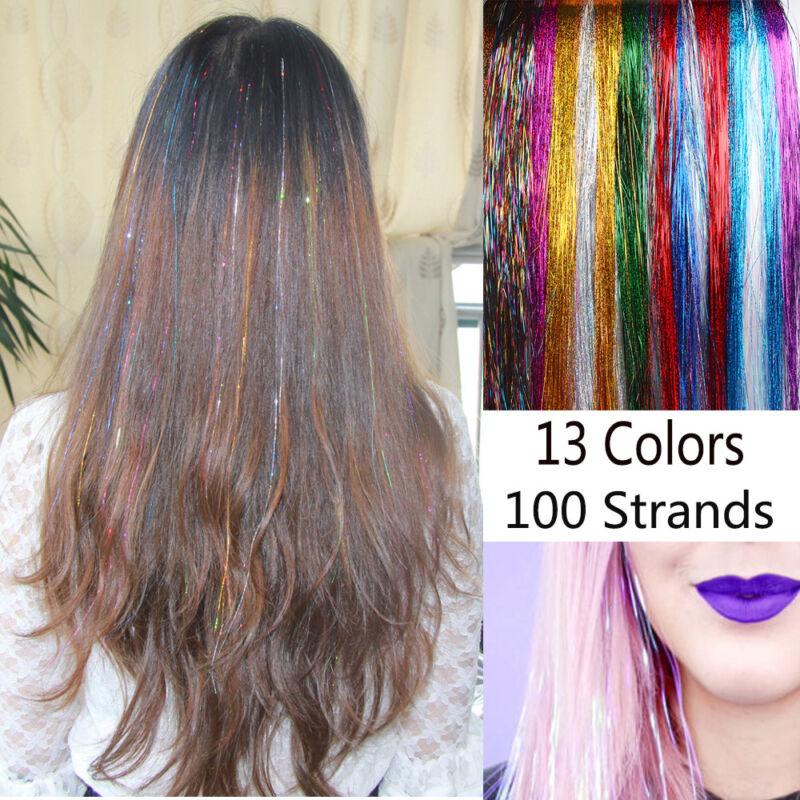 100 Strands Hair Tinsel Bling Silk Hair Flare Strands Glitter Rainbow Hair Decor 5