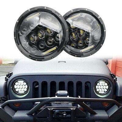 "Pair 7"" INCH 75W LED Headlight Hi/Lo Beam DRL Fit Jeep Wrangler CJ JK LJ Camaro 6"