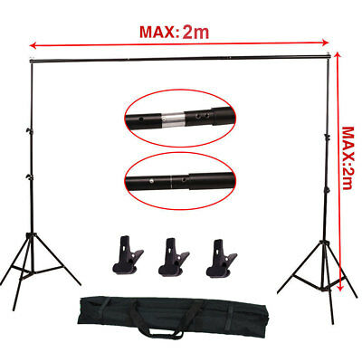Studio Photography Softbox Lighting Kit Background Stand Free 3 Backdrop Clamps 8